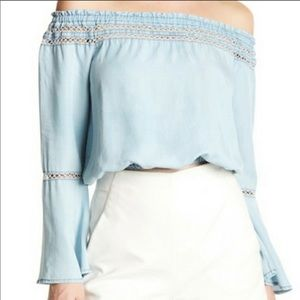 WALTER BAKER boho crop-top bell-sleeve chambray